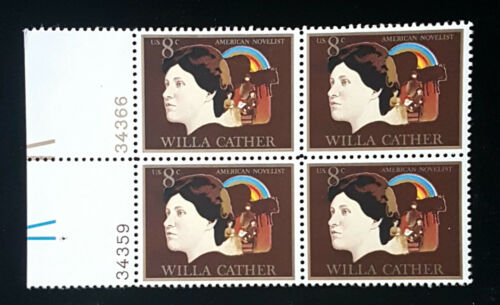 1973 Willa Cather Plate Block of 4 8c Postage Stamps - MNH, OG - Sc# 1487