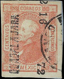 VEGAS - 1872 Mexico Sc# 95 Guadalajara - 16-72 Light Cancel On Paper - (FB17)