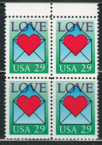 1992 USA Love Letter Stamp Block Of 4 - MNH, OG - Scott# 2618 - CX387