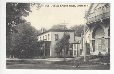 Posted 1909 USA Photo Postcard- Hotel Hotchkiss & Opera House, Oxford, NY (AT90)