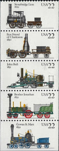 1987 Steam Locomotives Train Stourbridge Lion, etc. Pane Of 5 22c Stamps - MNH - Sc# 2362-2366 - CX410