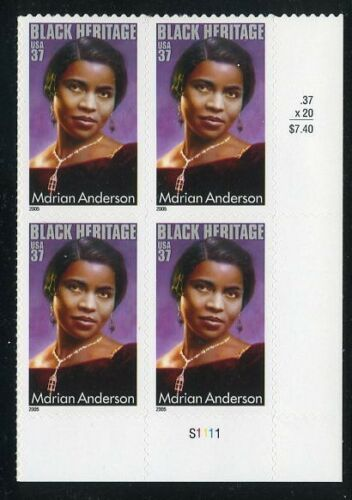 2005 - Marian Anderson Plate Block Of 4 37c Postage Stamps - Sc# - 3896 - MNH, OG - CX736