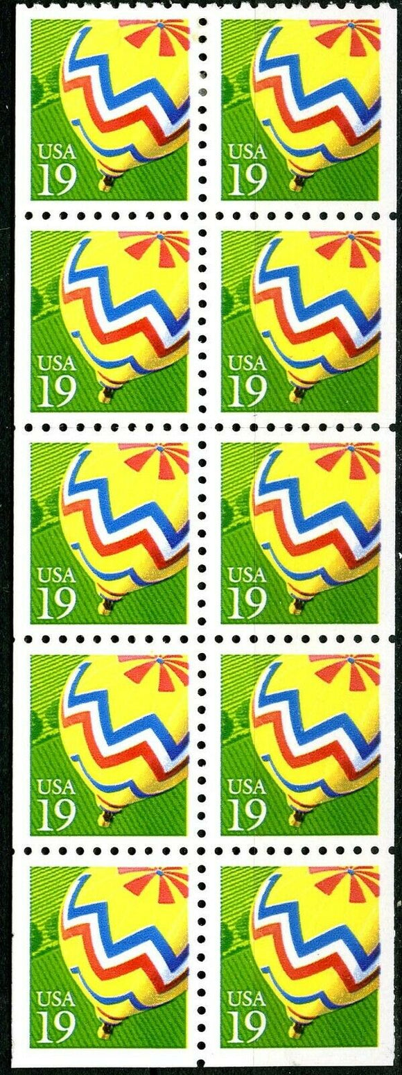 1991 Hot Air Balloons Booklet Pane Of 10 Postage Stamps - Sc# 2530 - Booklet Pane Of 10 - MNH - CX815