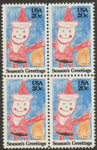 1984 Christmas Santa Claus Block of 4 20c Postage Stamps - Sc 2108 - MNH, OG - CWA7c