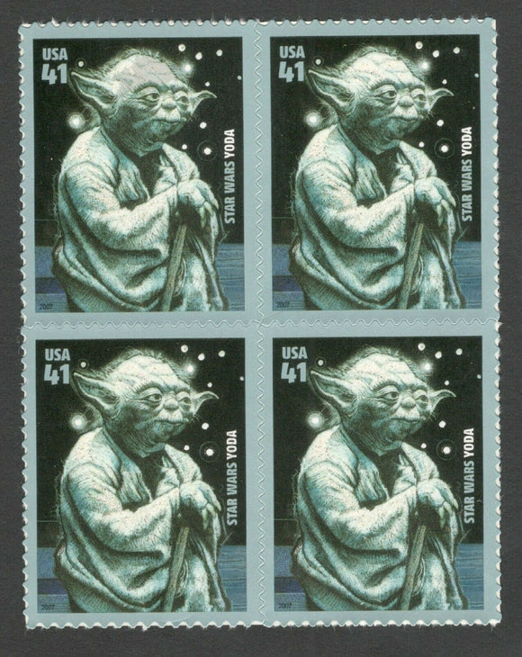 2007 Yoda Star Wars Block Of 4 41c Postage Stamps - MNH, OG - Scott# 4205 - DA103