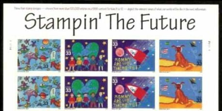 2000 - Stampin' The Future Space Block Of 8 33c Postage Stamps & Banner - Sc# 3414-3417 - MNH, OG - DC124a