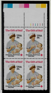 1981 Red Cross Plate Block of 4 18c Postage Stamps - MNH, OG - Sc# 1910