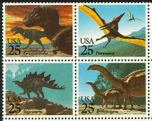1989 Dinosaurs Prehistoric Animals Block Of 4 25c Postage Stamps - Sc 2422-2425 - CW223