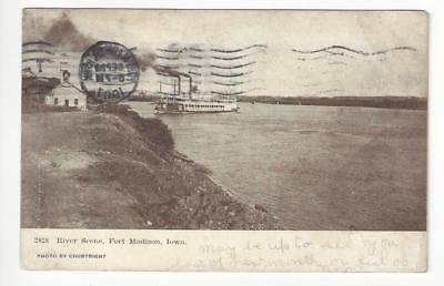 1907 USA Photo Postcard - River Scene, Fort Madison, IA - (AC68)