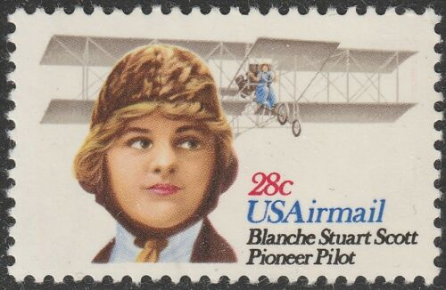 1980 Blanche Stuart Scott, Pioneer Pilot Single With Plate Number 28c Airmail Postage Stamp - MNH, OG - Sc# C99