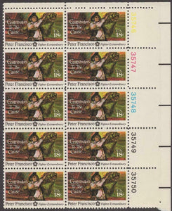 1975 Peter Francisco Plate Block of 10 18c Postage Stamps - MNH, OG - Sc# 1562 - BC46a