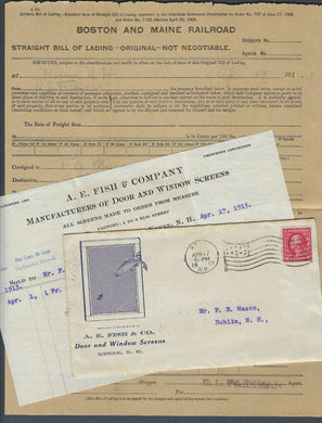 VEGAS - 1913 AE Fish, Keene, NH Ad Cover & Boston & Maine Railroad Bill - EX251