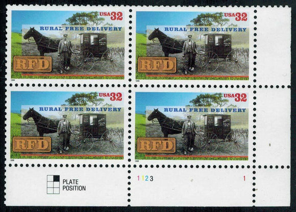 1996 RFD Rural Free Delivery Plate Block Of 4 32c Postage Stamps - Sc# 3090 - MNH, - CW366