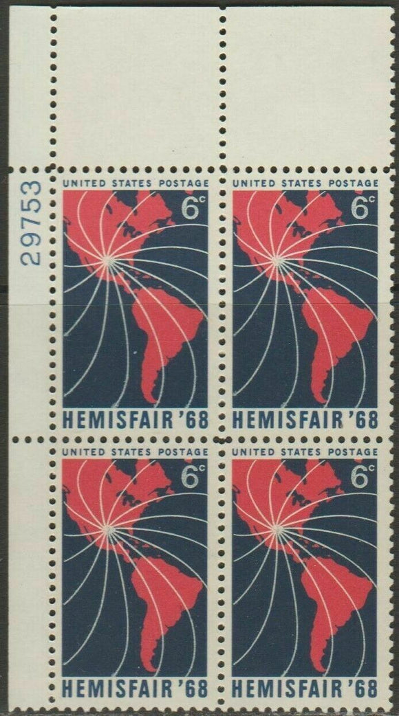 1968 Hemisfair '68 - Plate Block Of 4 6c Postage Stamps - MNH, OG - Sc# 1340 - CX295