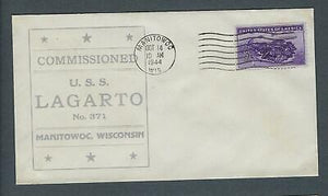 VEGAS - 1944 Submarine Lagarto - Commission Cover -Manitowoc, WI -Sunk WW2 FB247