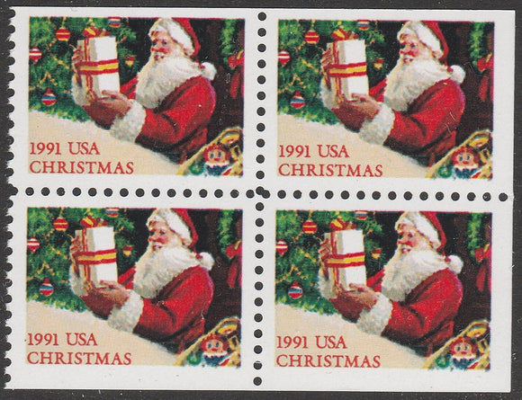 1991 Christmas Santa Booklet Pane Block of 4 29c Postage Stamps - MNH, OG - Sc# 2583