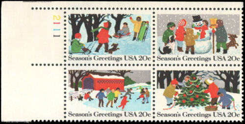 1982 Christmas Seasons Greetings - Plate Block of 4 20c Postage Stamps- Sc# 2027-2030 - MNH, OG - DS161a