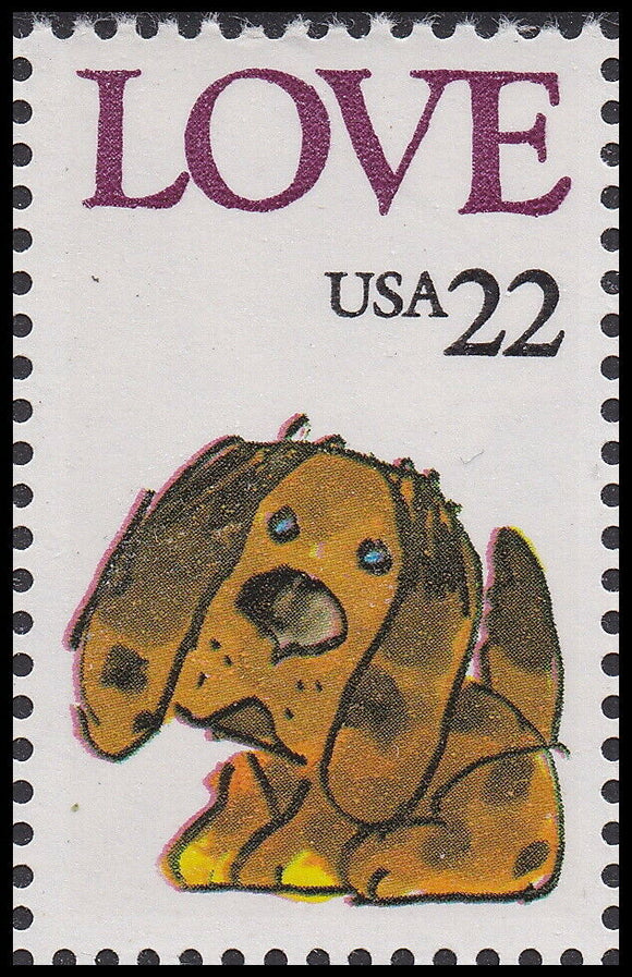 1986 Puppy Love Single 22c Postage Stamp - Sc# 2202 - MNH, OG - CX872c
