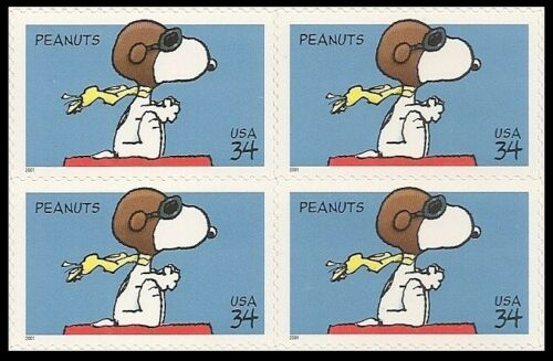 2001 Peanuts Comic Strip Snoopy Block of 4 34c Postage Stamps - Sc# 3507 - MNH, OG - CX68