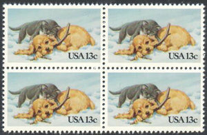 1982 Kitten & Puppy Playing Block Of 4 13c Postage Stamps - Sc# 2025 - MNH - DS172