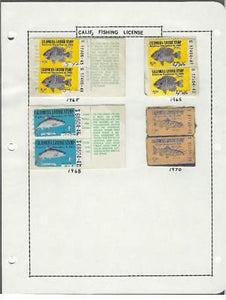 Small Collection of 1965, 1968, 1970 California Fishing Stamps - (CG69)