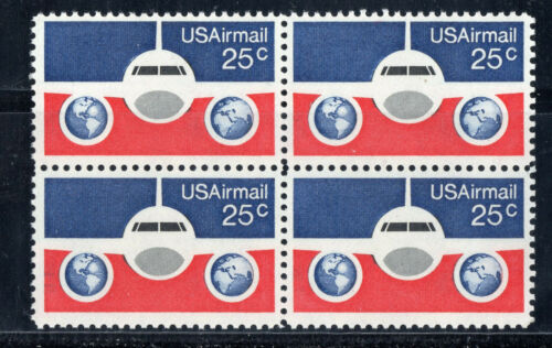 1976 Airplane & Globe Airmail Block of 4 25c Postage Stamps - MNH, OG - Sc# C89 - BC44a