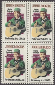 1978 Jimmie Rodgers Block of 4 13c Postage Stamps - MNH, OG - Sc# 1755
