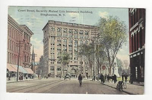 Posted 1913 USA Postcard - Court Street Street Scene, Binghamton, NY (AT82)