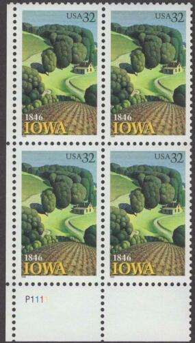 1996 Iowa Statehood Plate Block of 4 32c Postage Stamps - MNH, OG - Sc# 3088