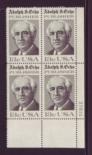 1976 Adolph Ochs Publisher Plate Block Of 4 13c Postage Stamps - MNH, OG - Sc# 1700 - CX340
