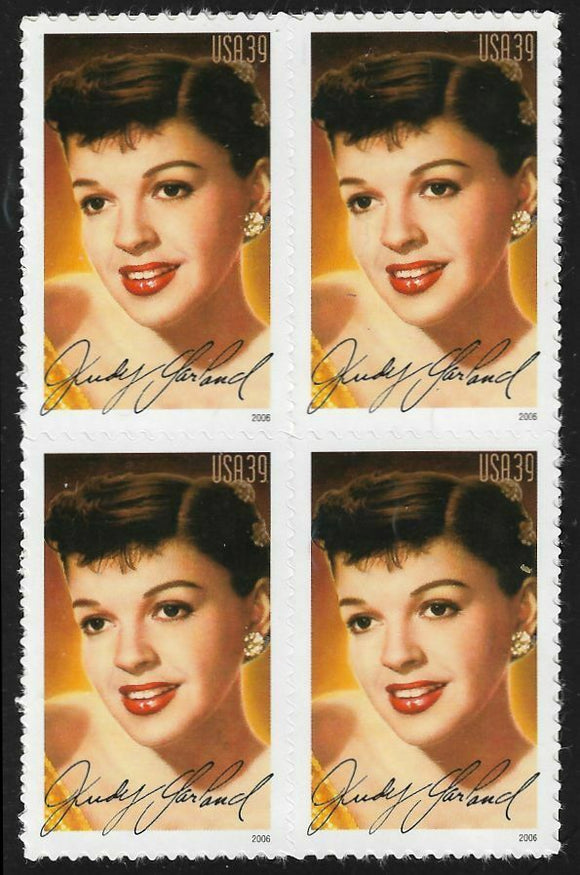 2006 Judy Garland Block Of 4 39c Postage Stamps - Sc# - 4077 - MNH, OG - CX734