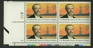 1985 F A Bartholdi Statue Of Liberty Sculptor Plate Block of 4 Postage Stamps - MNH, OG - Sc# 2147