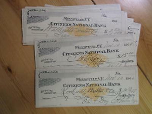 VEGAS- ONE Of ~1900 Citizens National Bank, Wellsville, NY Check RN-X6 READ DESC