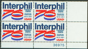 1976 Interphil Philatelic Exhibition Plate Block of 4 13c Postage Stamps - MNH, OG - Sc# 1632