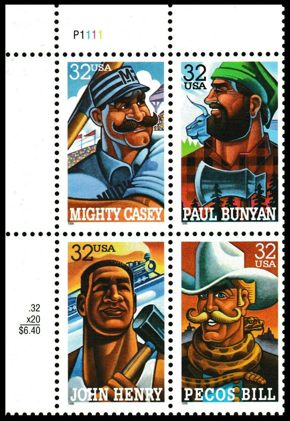 1996 Folk Heros Plate Block of 4 32c Postage Stamps - Sc 3083-3086 - CW374