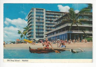 1976 USA Photo Postcard - Reef Hotel, Waikiki Beach, Hawaii - Creases (AM53)