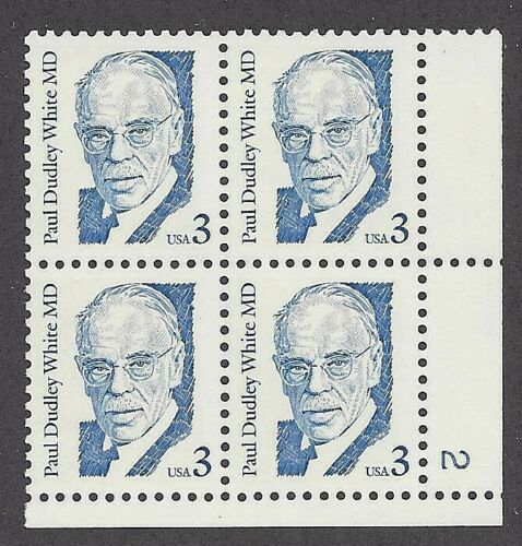 1986 Paul Dudley White Plate Block of 4 3c Postage Stamps - MNH, OG - Sc# 2170