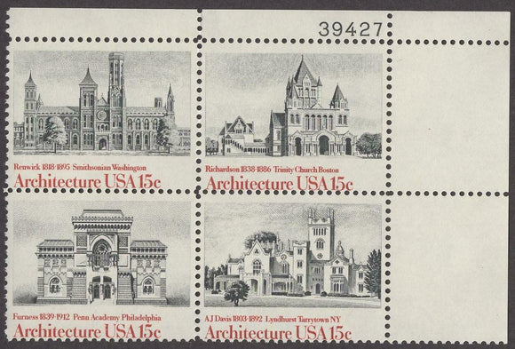 1980 Architecture Plate Block Of 4 15c Postage Stamps - Sc# 1838-1841 - MNH, OG - CW22a