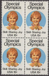 1979 Special Olympics Block of 4 15c Postage Stamps - MNH, OG - Sc# 1788