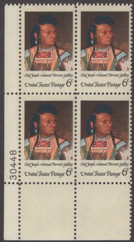 1968 Indian Native American Chief Joseph Plate Block Of 4 6c Postage Stamps - MNH, OG -Sc# 1364 - CX352