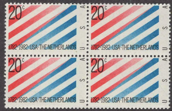 1982 USA - The Netherlands Block Of 4 20c Postage Stamps - Sc 2003 - MNH - CW465a