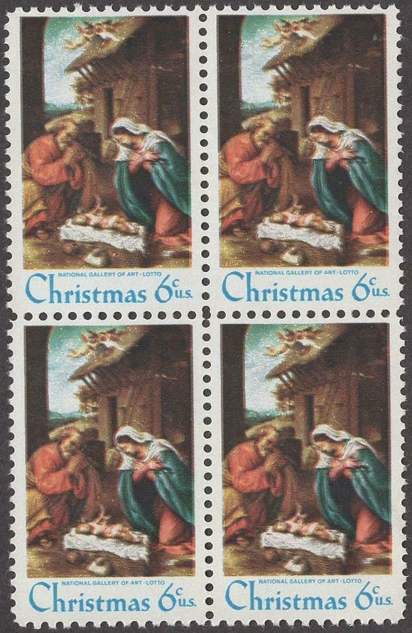 1970 -Christmas Nativity Block Of 4 6c Postage Stamps - Sc# 1414 - MNH, OG - CW300
