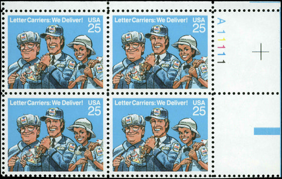 1989 Letter Carriers Plate Block Of 4 25c Postage Stamps - MNH, OG - Sc 2420 - CW462