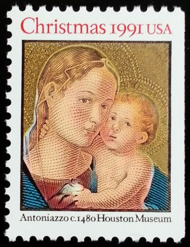 1991 Madonna & Child Single 25c Postage Stamp - Sc# 2578 - MNH - CW367b