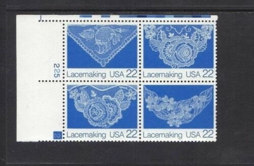 1987 Lacemaking Plate Block Of 4 22c Postage Stamps - Sc# 2351-2354 - MNH, OG - CW39b