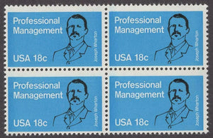 1981 Wharton Professional Management Block Of 4 18c Postage Stamps - Sc 1920 - MNH - CW483a
