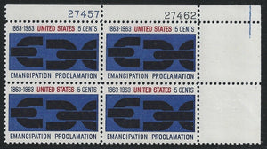 1963 Emancipation Proclaimation Plate Block Of 4 5 Cent Postage Stamps - MNH, OG - Sc# 1233 - CX318