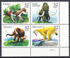 1996 USA Prehistoric Animals Plate Block Of 4 32c Stamps - MNH, OG - Scott# 3077-3080 - CX389