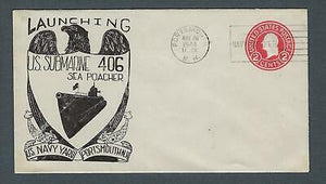 VEGAS - 1944 Submarine Sea Poacher Launch Cover- Portsmouth, NH - FD223