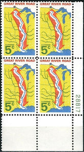 1966 Great River Road Plate Block Of 4 5c Postage Stamps - MNH, OG - Sc# 1319`- CX238